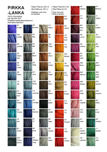 Colour card Pirkka yarn