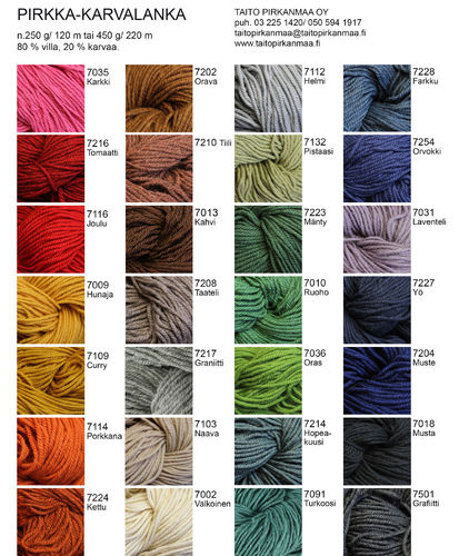 Colour card Hairyarn